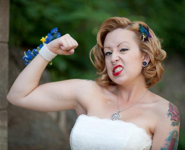 Bride Flexing Muscle